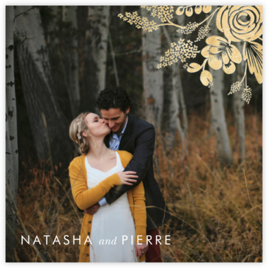 Heather and Lace (Photo Announcement) - Gold - Rifle Paper Co. - Rifle Paper Co. Wedding