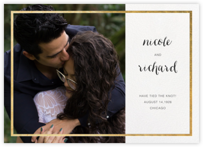 Idylle (Photo Announcement) - White/Gold - Paperless Post - Wedding Announcements