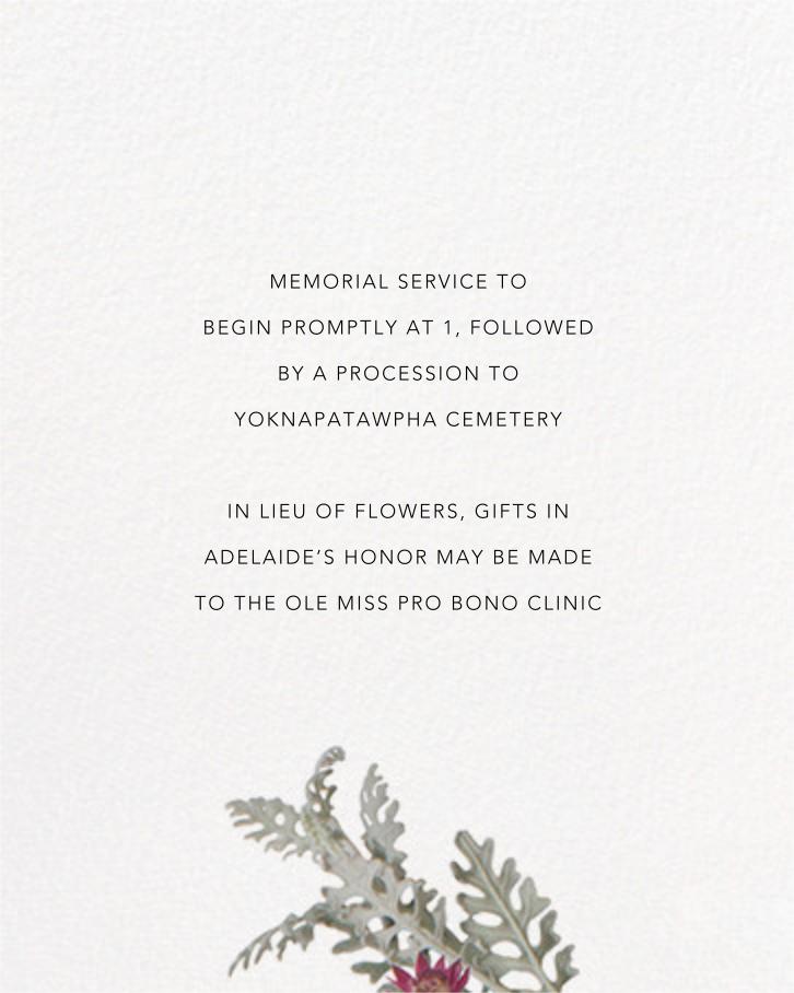 Winter Wilds - Paperless Post - Memorial service - insert front