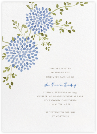 Dahlias (Tall) - Blue - Paperless Post - Celebration invitations