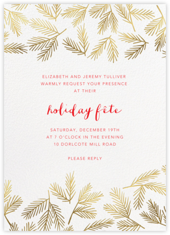 Brushed With Pine - Meri Meri - Holiday party invitations