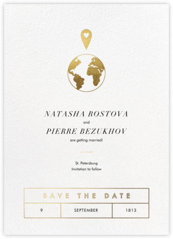 Enter Our Destination - Paperless Post - Gold and metallic save the dates