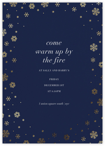 White Out (Tall) - Navy/Gold - Paperless Post - Winter Party Invitations