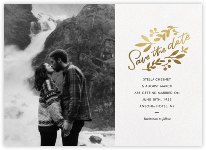 Wildwood Photo - Paperless Post - Gold and metallic save the dates