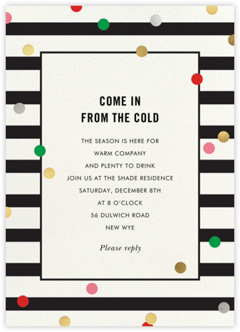 Confetti Stripes - kate spade new york - Holiday party invitations