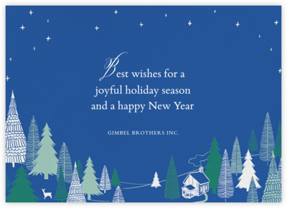 Snow Pine Valley (Horizontal) - Blue - Paperless Post - Company holiday cards