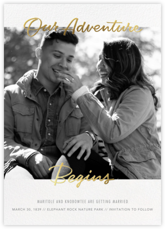 Our Adventure Begins - Paperless Post - Modern save the dates