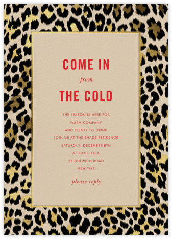 Leopard Border - Champagne - kate spade new york - Holiday party invitations