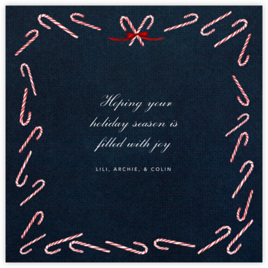 Candy Cane (Square) - Midnight - Paperless Post - Holiday Cards
