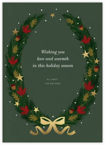 Maple Wreath - Greenwood - Paperless Post - Company holiday cards