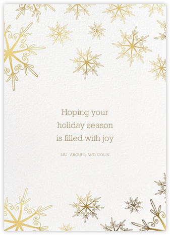 Vintage Flakes - Gold - Paperless Post - Holiday Cards