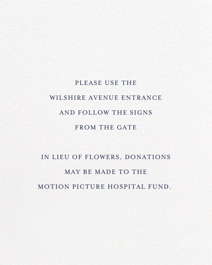 Forsythia (Invitation) - Navy - Paperless Post - Memorial service - insert front