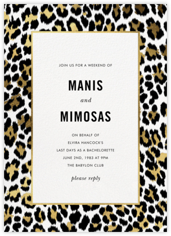 Leopard Border - White - kate spade new york - Bachelorette party invitations