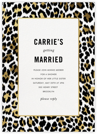 Leopard Border - White - kate spade new york - Kate Spade invitations, save the dates, and cards
