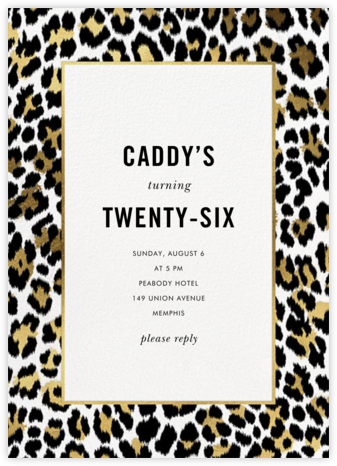 Leopard Border - White - kate spade new york - Adult birthday invitations