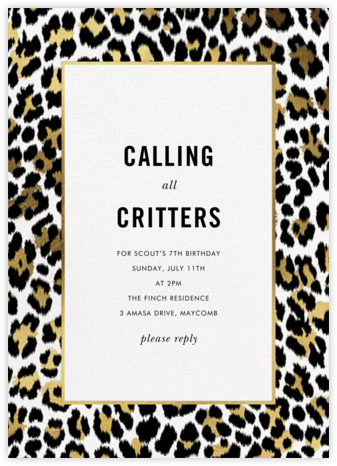 Leopard Border - White - kate spade new york - Online Kids' Birthday Invitations