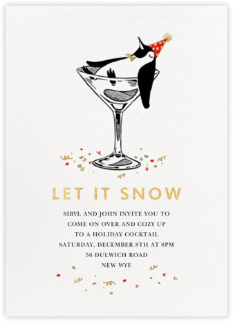 Polar Hangover - Gold - Paperless Post - Holiday Invitation Templates