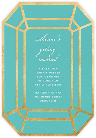 Gem - Aqua - kate spade new york - Bridal shower invitations