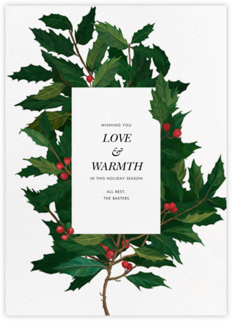 English Holly - Paperless Post - Holiday Cards