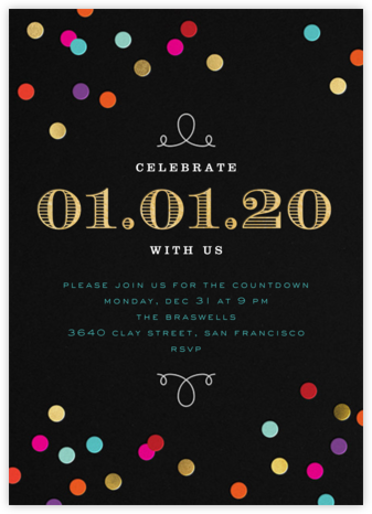 New Year's Confetti (Invitation) - bluepoolroad - New Year's Eve Invitations