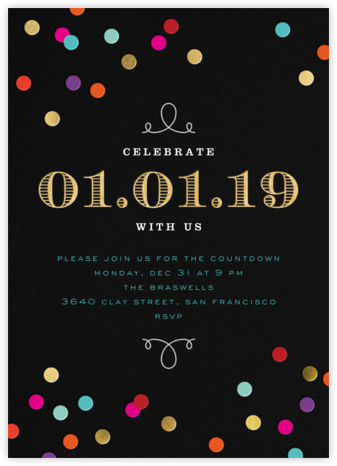 new years confetti invitatio