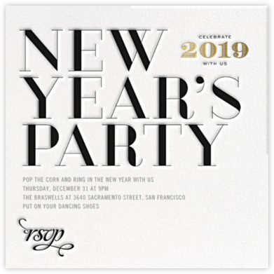 Etched New Year - bluepoolroad - bluepoolroad invitations and cards