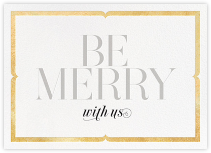 Be Merry With Us - Gold - bluepoolroad - bluepoolroad invitations and cards