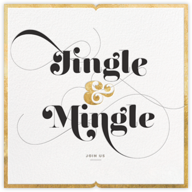 Jingle & Mingle - Gold - bluepoolroad - Holiday party invitations