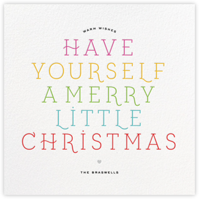 Merry Little Christmas - White/Multi - bluepoolroad - bluepoolroad invitations and cards