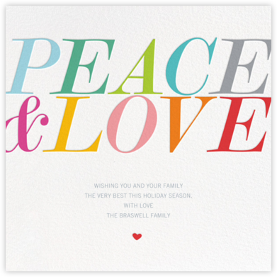 Peace & Love (Square) - bluepoolroad - Holiday cards