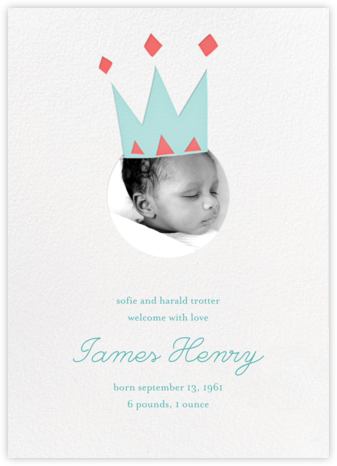 Royal Party (Photo) - Blue - Little Cube - Birth Announcements