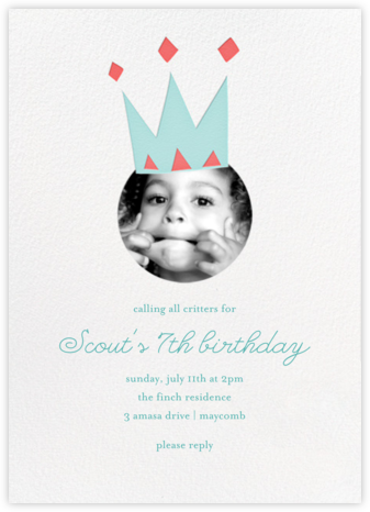 Royal Party (Photo) - Blue - Little Cube - Online Kids' Birthday Invitations