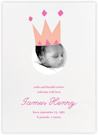 Royal Party (Photo) - Pink - Little Cube - Birth Announcements