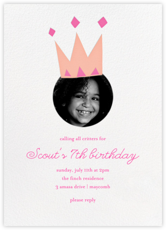 Royal Party (Photo) - Pink - Little Cube - First Birthday Invitations