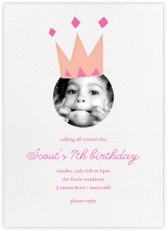 Royal Party (Photo) - Pink - Little Cube - Online Kids' Birthday Invitations