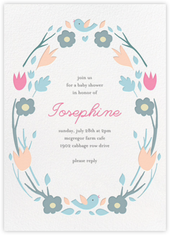 Ring Around the Daisy - Blue - Little Cube - Baby Shower Invitations