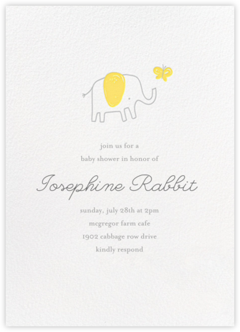 The Chase - Yellow - Little Cube - Elephant Baby Shower Invitations