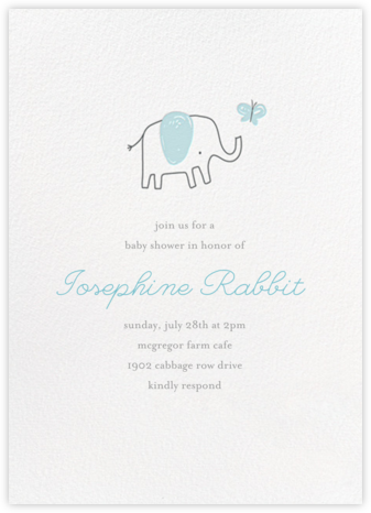 The Chase - Blue - Little Cube - Elephant Baby Shower Invitations