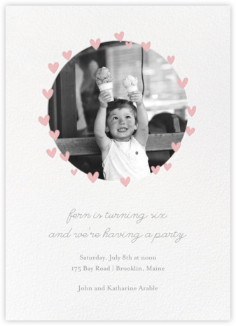 Little Heart Halo (Invitation) - Pink - Little Cube - Kids' birthday invitations