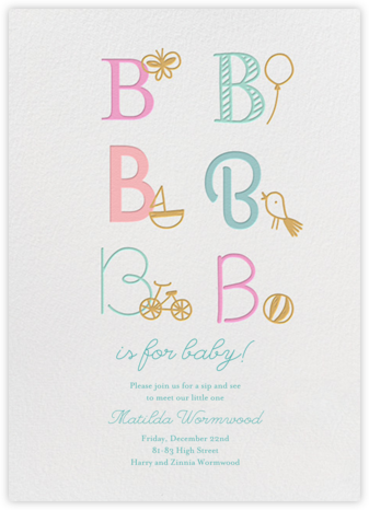 B Is For Baby - Little Cube - Baby shower invitations