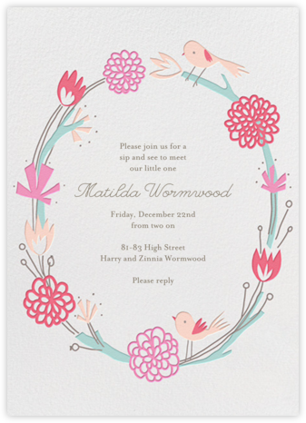 Birdie Makes A Wreath - Little Cube - Woodland Baby Shower Invitations