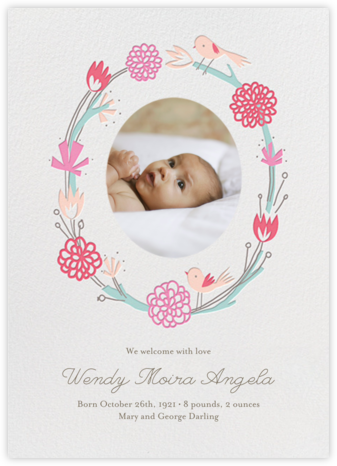 Birdie Makes A Wreath - Photo - Little Cube - Birth Announcements