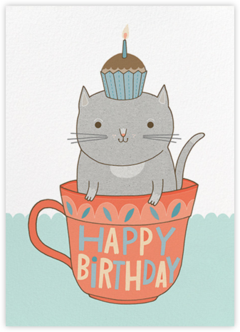 Teacup Cat (Anke Weckmann) - Red Cap Cards - Birthday Cards for Her