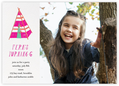 A Bear in the Tent (Photo) - Pink - Mr. Boddington's Studio - Online Kids' Birthday Invitations