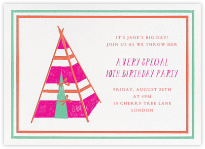 A Bear in the Tent - Pink - Mr. Boddington's Studio - Online Kids' Birthday Invitations