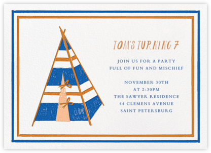 A Bear in the Tent - Blue - Mr. Boddington's Studio - Online Kids' Birthday Invitations