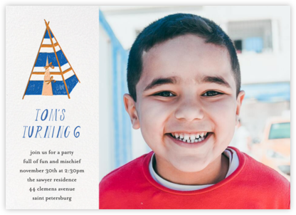 A Bear in the Tent (Photo) - Blue - Mr. Boddington's Studio - Online Kids' Birthday Invitations