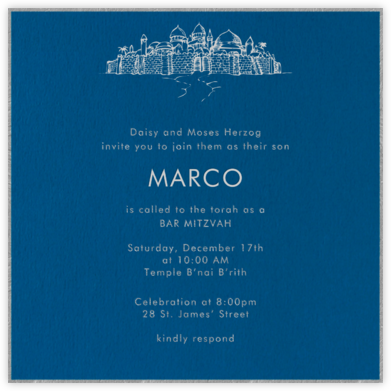 Indigo with Silver (Square) - Paperless Post - Bat and Bar Mitzvah Invitations