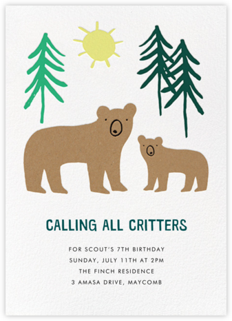 Bears in Mind - Meri Meri - Online Kids' Birthday Invitations