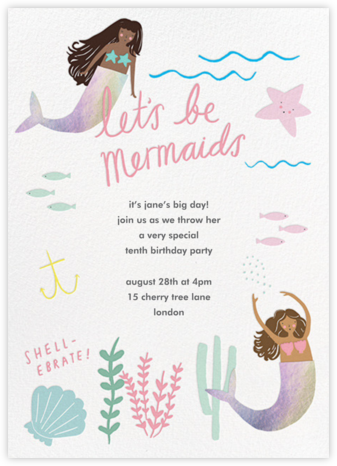 Mermaids in Waiting - Mocha - Meri Meri - Kids' birthday invitations